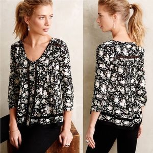 Anthropologie Maeve Lilly Floral Peasant Blouse
